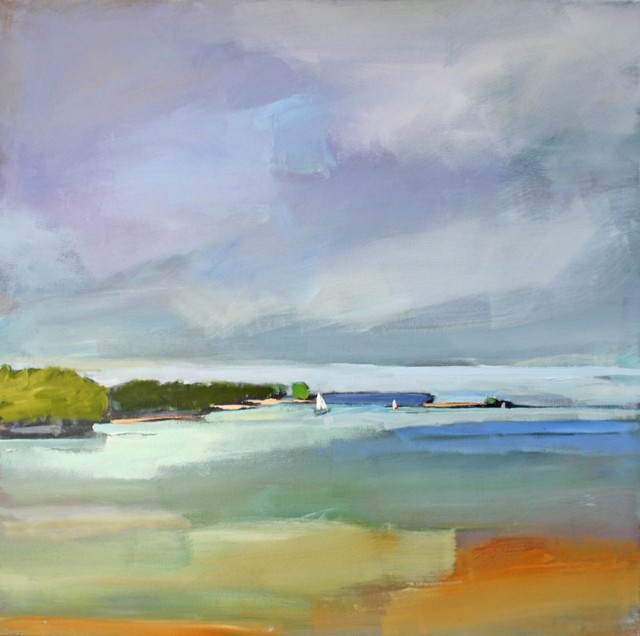 "Claire Bigbee | Smooth Sailing on Casco Bay | Oil | 20"" X 20"" 
