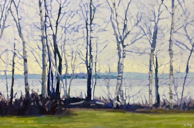 "Liz Hoag | Island Through the Birches | Acrylic on Canvas | 24"" X 36"" | Sold"