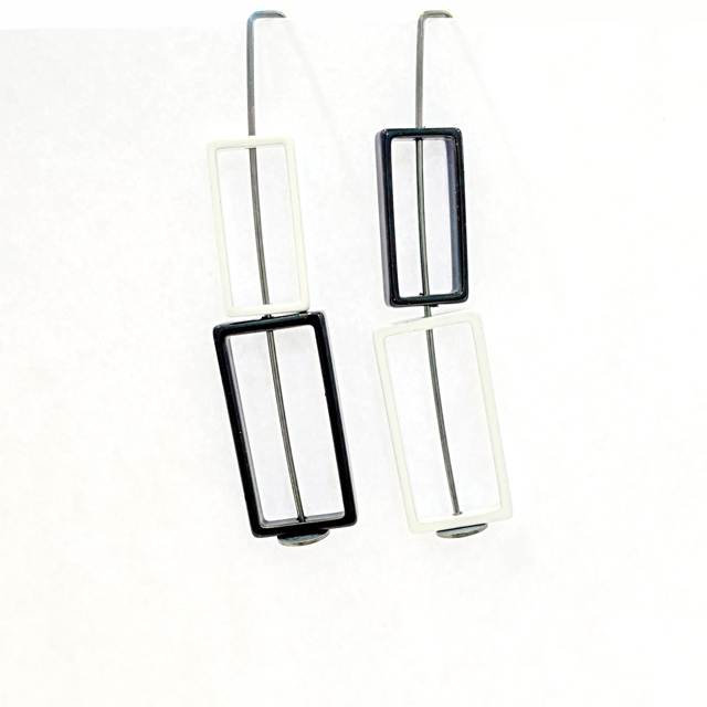 Double Rectangle Earrings in Black and White