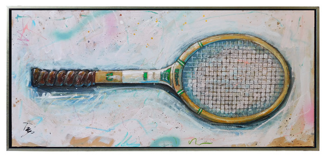 "Trip Park | Happy Raquet | Mixed Media on Canvas | 16"" X 36"" 