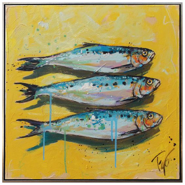 "Trip Park | Small Catch | Acrylic and Mixed Media on Canvas | 18"" X 18"" 