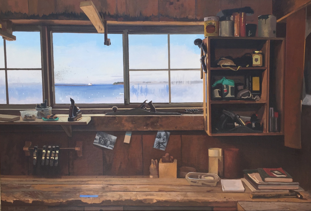 "William B. Hoyt | The Apprentice Shop in Rockland | Oil and Canvas Mounted on Aluminum | 24"" X 36"" 