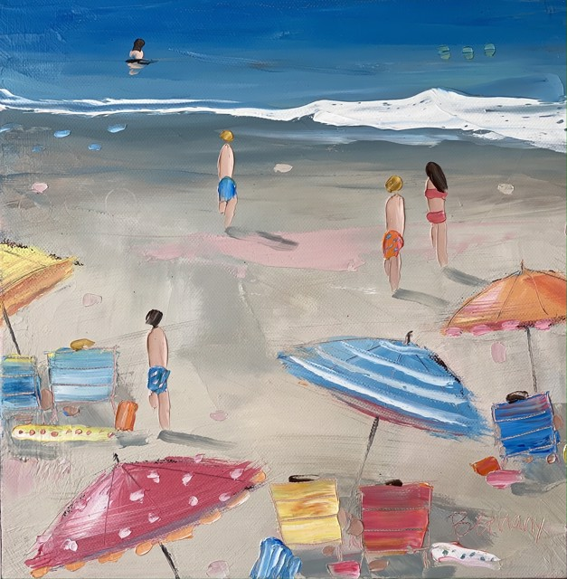 """Bethany Harper Williams   The Perfect Beach Day   Oil on Canvas   12"""" X 12""""   $550.00"""