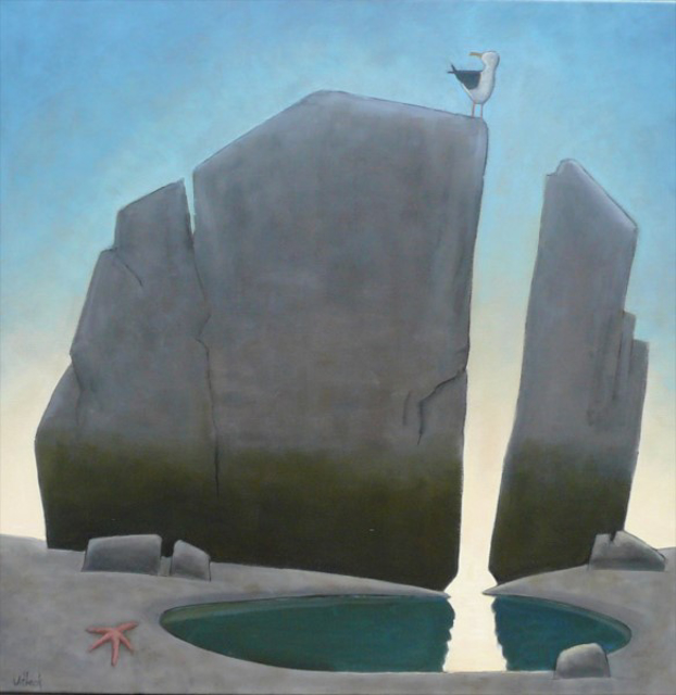 "David Witbeck | Split Rock with Seastar | Oil on Canvas | 36"" X 36"" 