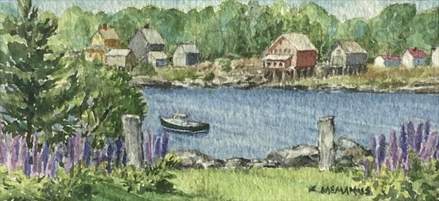 "Karen McManus | Lupines, Pier Road | Watercolor | 2.12"" X 4.62"" | Sold"