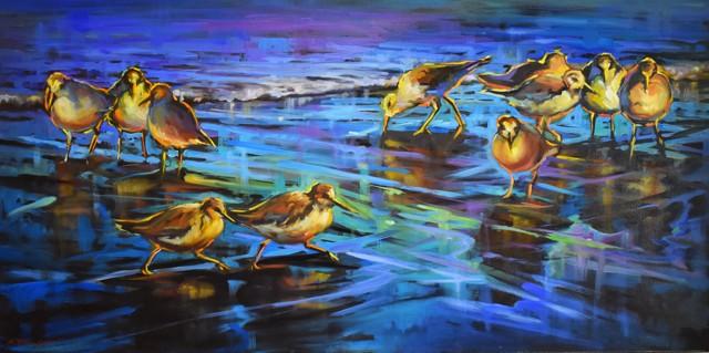 "Karen Bruson | Busy Birds | Oil on Canvas | 24"" X 48"" | $2,200.00"