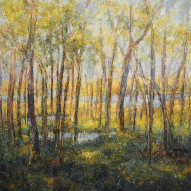 """Susan Wahlrab   New Leaf   Varnished Watercolor on Archival Claybord   16"""" X 16""""   $2,650.00"""