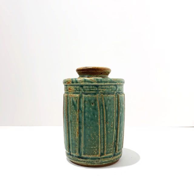 "Richard Winslow | Jade Lidded Pot | Ceramic | 7"" X 4.5"" | Sold"