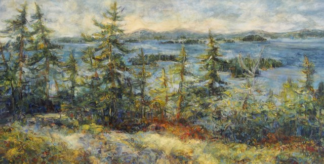 "Susan Wahlrab | Lookout | Varnished Watercolor on Archival Claybord | 12"" X 24"" 