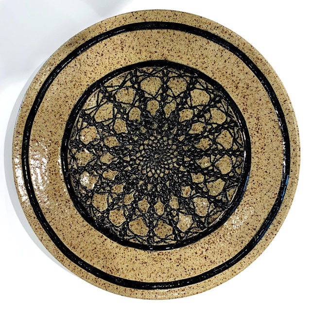 "Richard Winslow | Large Textured Dish in Black | Ceramic | 2.5"" X 14"" 