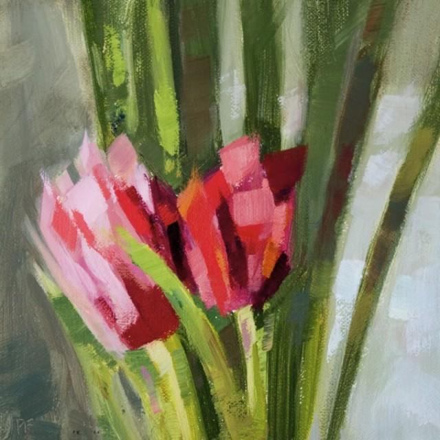 "Philip Frey | Tulip Couple | Oil on Linen Panel | 6"" X 6"" | Sold"