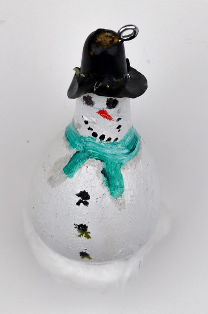 Snowman (gourd ornament) by Imani Turner