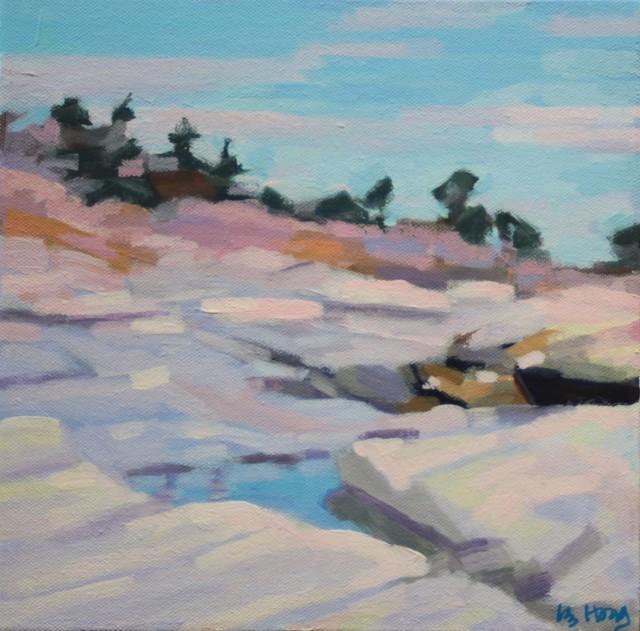 "Liz Hoag | Rocky Shore | Acrylic on Canvas | 10"" X 10"" | Sold"