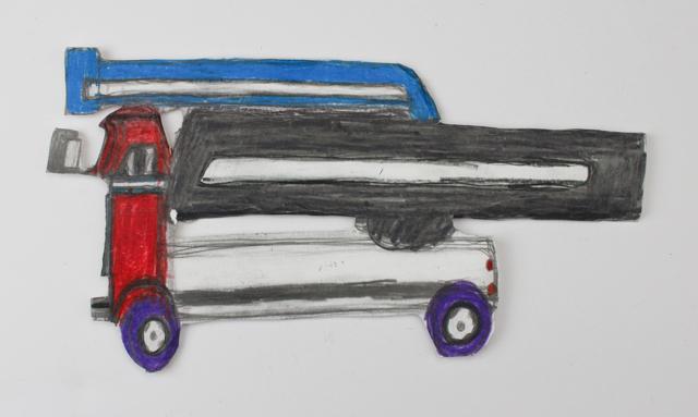 Blue Utility Truck