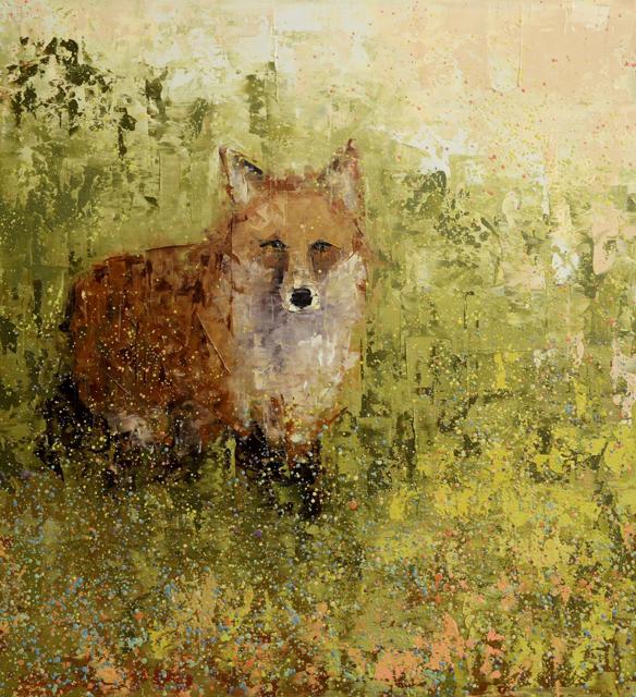 "Rebecca Kinkead | Red Fox, Green Field | Oil and Wax on Linen | 36"" X 33"" | Sold"
