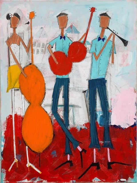 "Rick Hamilton | Play It Loud | Acrylic on Canvas | 40"" X 30"" | $2,000.00"