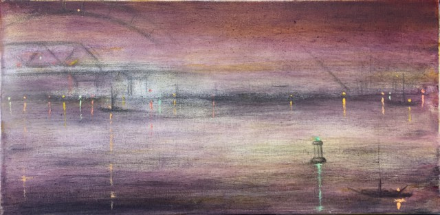 "John LeCours | Portsmouth Harbor, Four Tree Island View | Oil on Canvas | 10"" X 20"" 