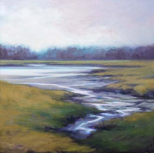 "Margaret Gerding   Low Tide - 2021   Oil on Canvas   18"" X 18""   $2,800.00"