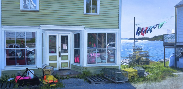 "William B. Hoyt | On the Waterfront | Oil | 23"" X 47"" 