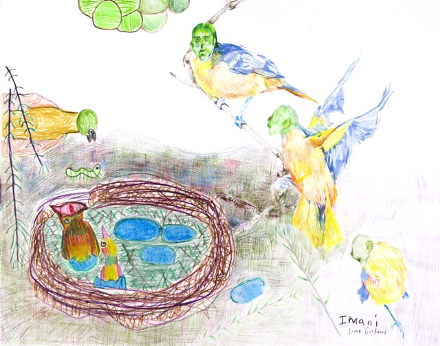 Collaborative drawing with visiting artist Laura Grothaus (Harpy Family Reunion)