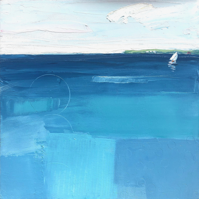 "Bethany Harper Williams | Solitude in Aqua | Oil on Canvas | 16"" X 16"" 