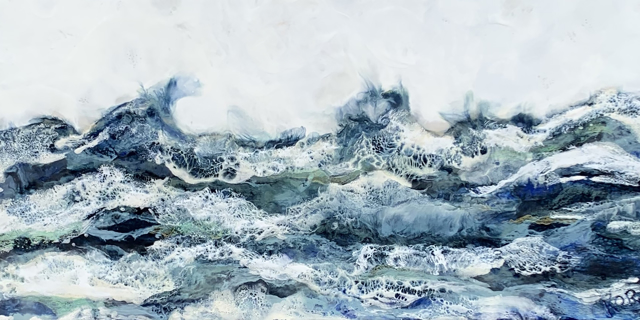 "Kathy Ostrander Roberts | September Seas | Encaustic on Birch Panel | 20"" X 30"" | Sold"