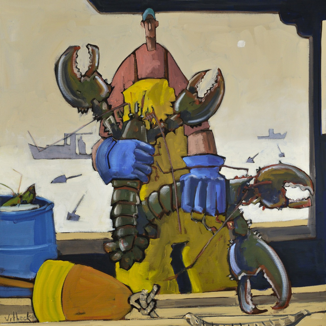 "David Witbeck | Twin Lobsters | Oil on Canvas | 30"" X 30"" 
