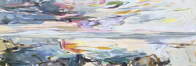 "Jeffrey T. Fitzgerald | Opening Up | Acrylic on Panel | 12"" X 36"" 