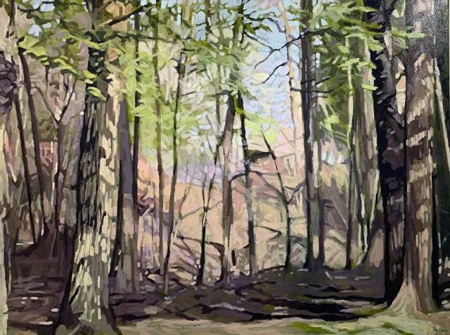 "Liz Hoag | Portland Stroll | Acrylic on Canvas | 36"" X 48"" | Sold"