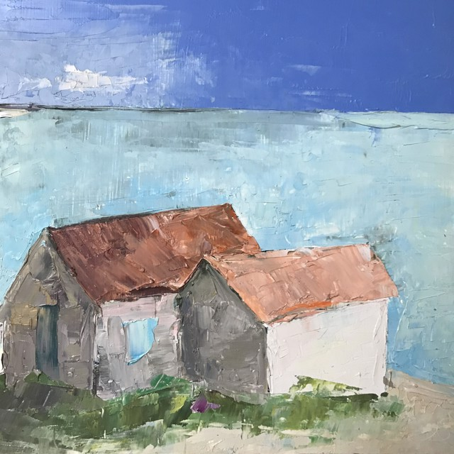 "Janis H. Sanders   Fish Houses   Oil on Panel   9.75"" X 9.75""   $525.00"