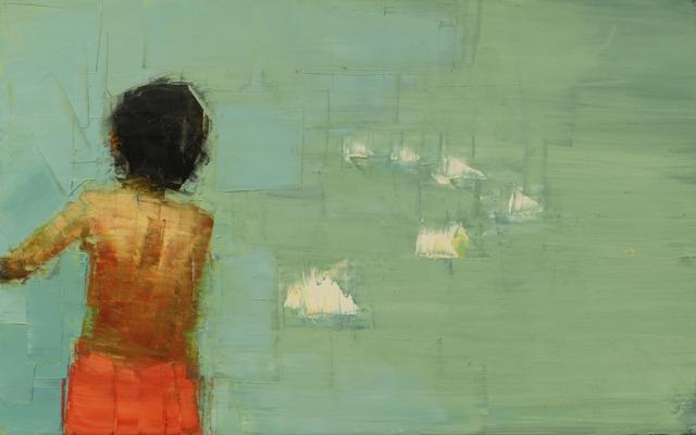 "Rebecca Kinkead | Rock Skip | Oil and Wax on Linen | 15"" X 24"" | Sold"