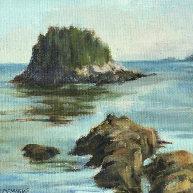 "Karen McManus | Dusk, Mink Island | Oil | 6"" X 6"" | Sold"