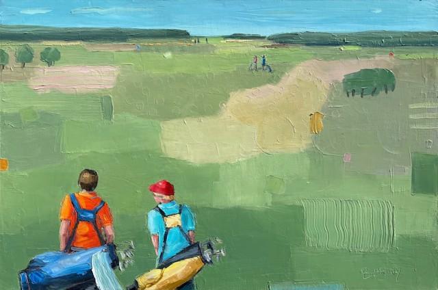 "Bethany Harper Williams   Golf Buddies   Oil on Canvas   24"" X 36""   $2,500.00"