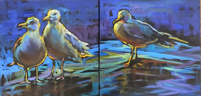 "Karen Bruson | Wait for Me - Diptych | Oil on Canvas | 12"" X 24"" | $895.00"