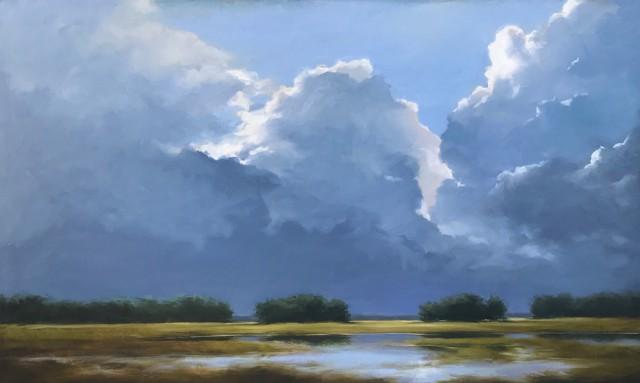 """Margaret Gerding   Ocean Light on the Marsh   Oil on Canvas   24"""" X 40""""   $5,000.00"""