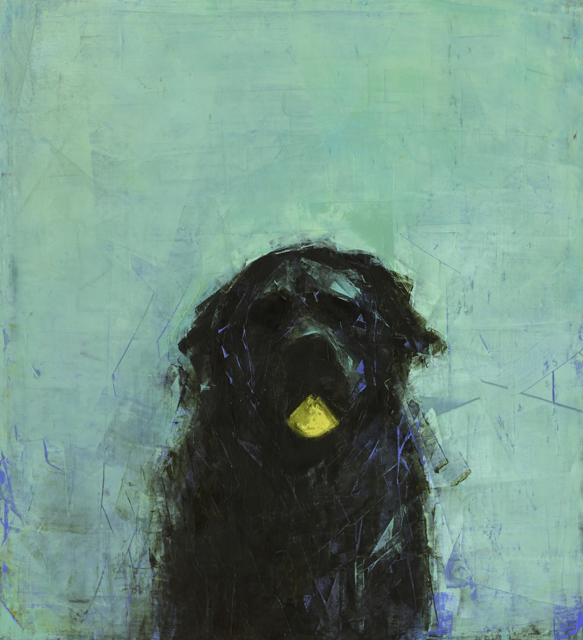 "Rebecca Kinkead | Early Riser (Black Dog with Ball) | Oil and Wax on Linen | 33"" X 30"" 