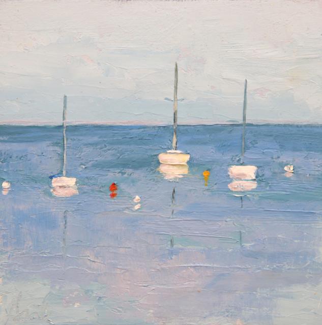 "Ellen Welch Granter | Happy Place | Oil on Cradled Panel | 8"" X 8"" | Sold"