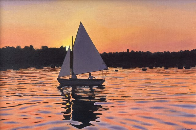 "William B. Hoyt | Sunset Sail | Oil on Canvas Stretched on Panel | 16"" X 24"" 