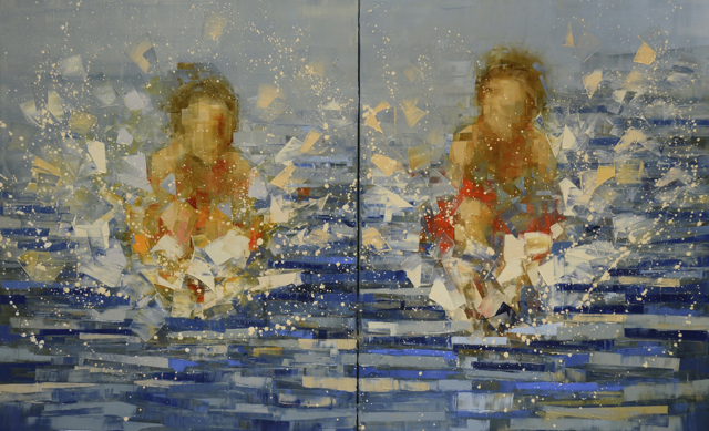 "Rebecca Kinkead | Cannonball (Big Boys) | Oil and Wax on Linen | 60"" X 96"" 