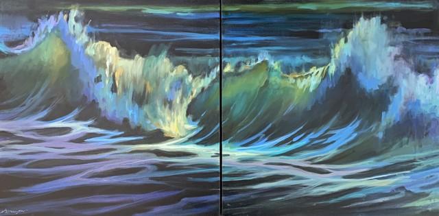 "Karen Bruson | Red Flag - Diptych | Oil on Canvas | 24"" X 48"" | $2,200.00"