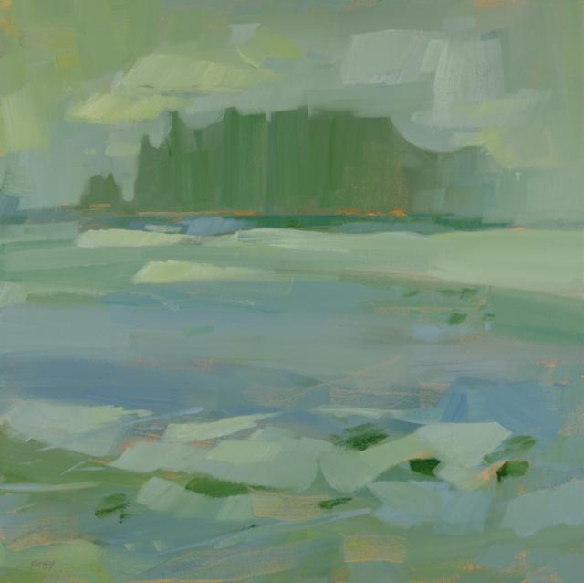 "Philip Frey | Misty Expanse | Oil | 18"" X 18"" | Sold"