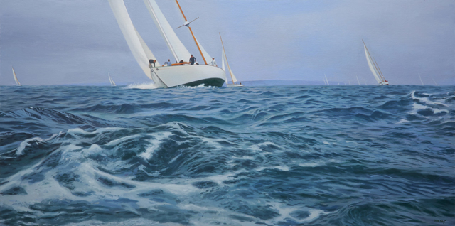 "William B. Hoyt | So We Beat On, Boats Against The Current, Borne Back Ceaselessly Into The Past | Oil | 30"" X 60"" 