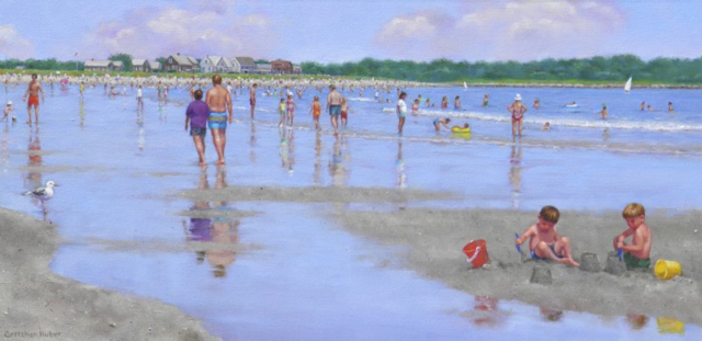 "Gretchen Huber Warren | Goose Rocks Beach | Oil on Canvas | 15"" X 30"" 