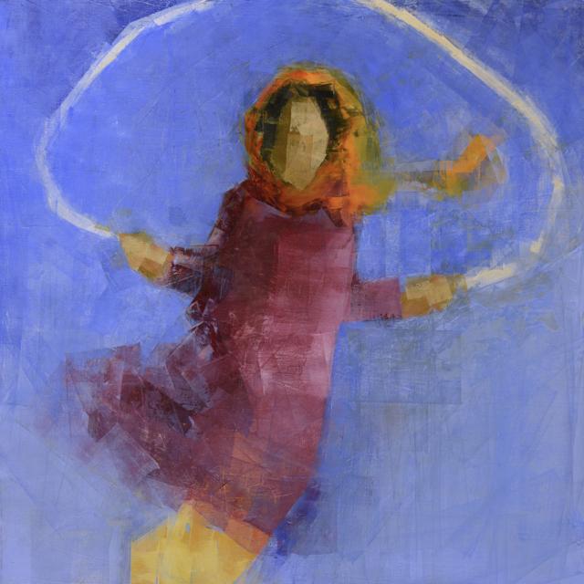 "Rebecca Kinkead | Jump (Blue Sky) | Oil and Wax on Linen | 48"" X 48"" | Sold"