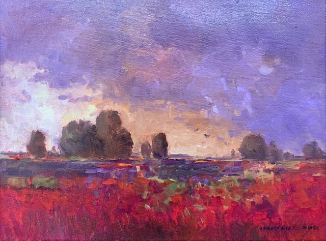 "Monique Sakellarios | Poppy Fields | Oil on Canvas | 12"" X 16"" | $1,400.00"