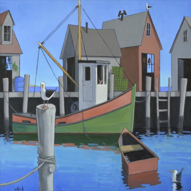 "David Witbeck | Harbor Gulls | Oil on Canvas | 40"" X 40"" 