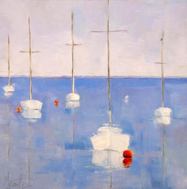 "Ellen Welch Granter | Marina | Oil on Panel | 12"" X 12"" | Sold"