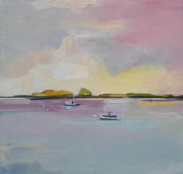 "Claire Bigbee | Maulden, Hen & Mink Islands, Sheepscot River, Georgetown #1 | Oil on Canvas | 12"" X 12"" 