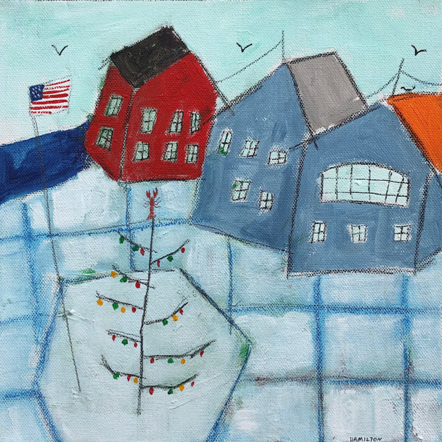 "Rick Hamilton | Dock Square Christmas Tree #2 | Oil on Canvas | 10"" X 10"" 