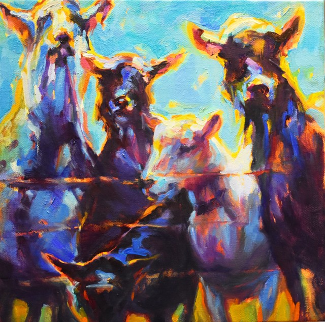 "Karen Bruson | Pick Me | Oil on Canvas | 12"" X 12"" | $495.00"
